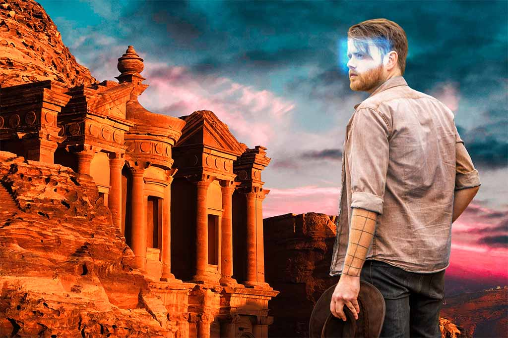 man in VR in Petra