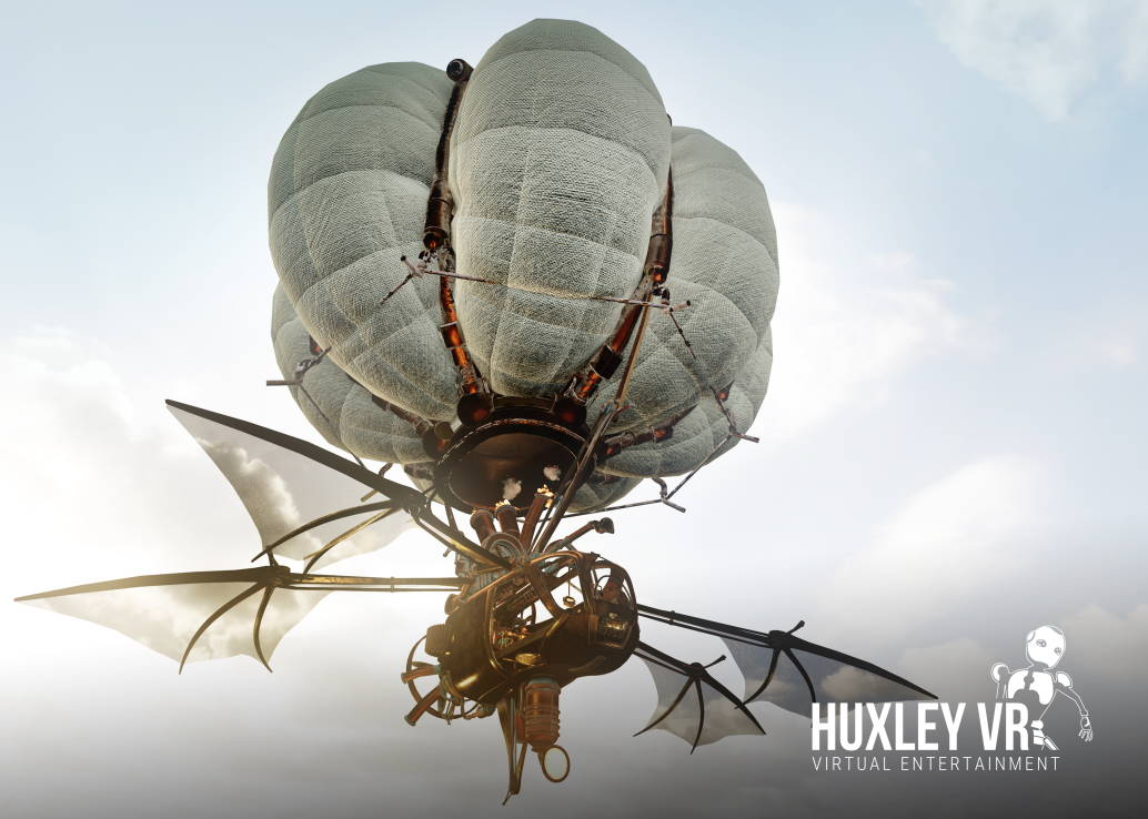 steampunk airship floating in cloudy sky