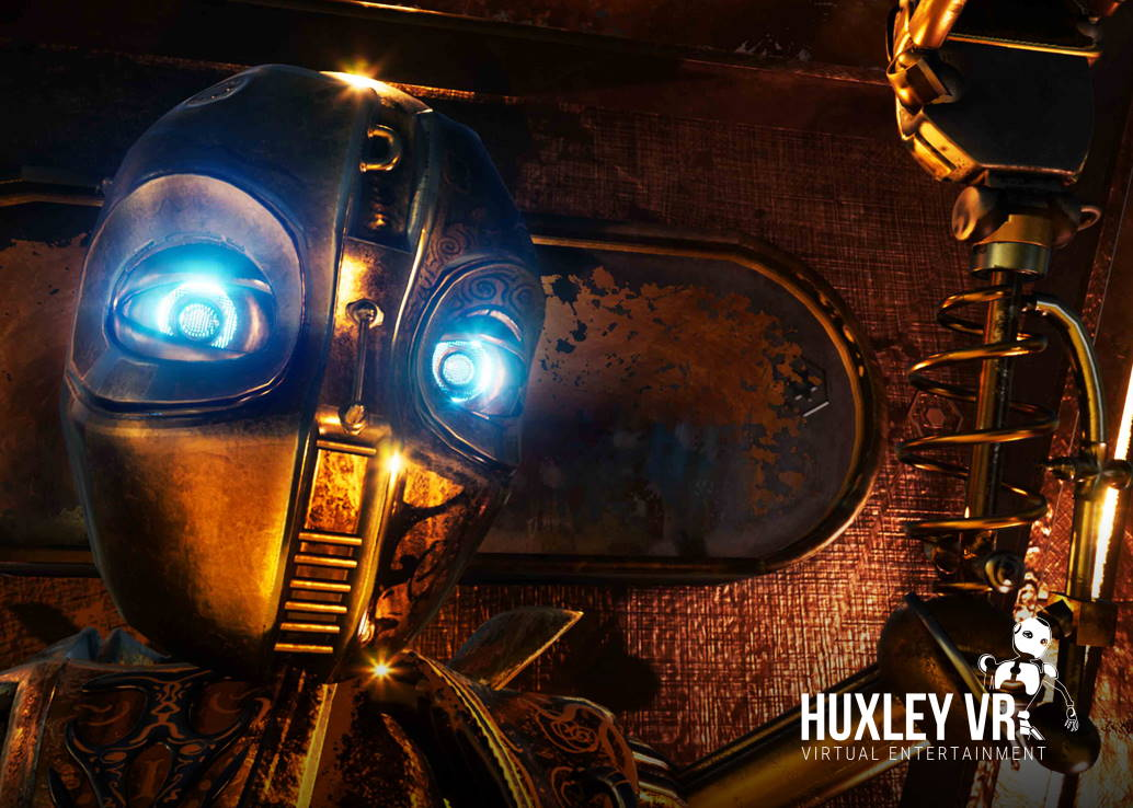 golden robot with glowing eyes with a steampunk background