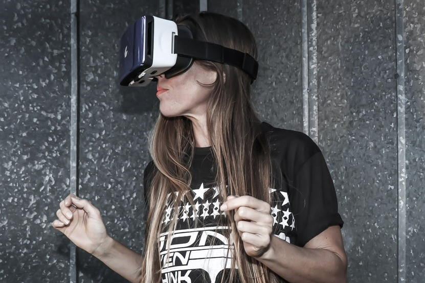 woman wearing virtual reality headset
